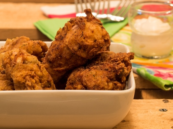 Electric Skillet Fried Chicken in Bowl