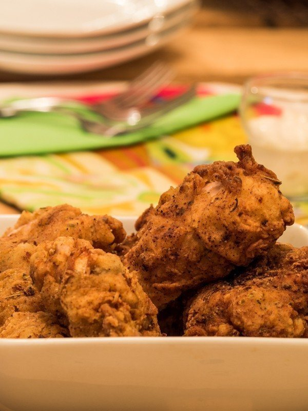 Electric Skillet Fried Chicken in Bowl - tall image