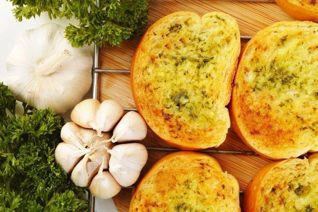 Skillet breads with garlic butter.