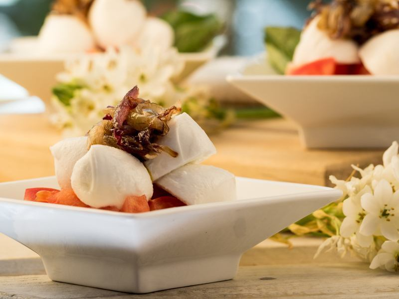 Bocconcini Caprese with Cherry Tomatoes and Caramelized Onions 2