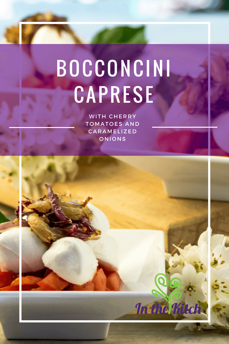 Bocconcini Caprese with Cherry Tomatoes and Caramelized Onions Cover Image