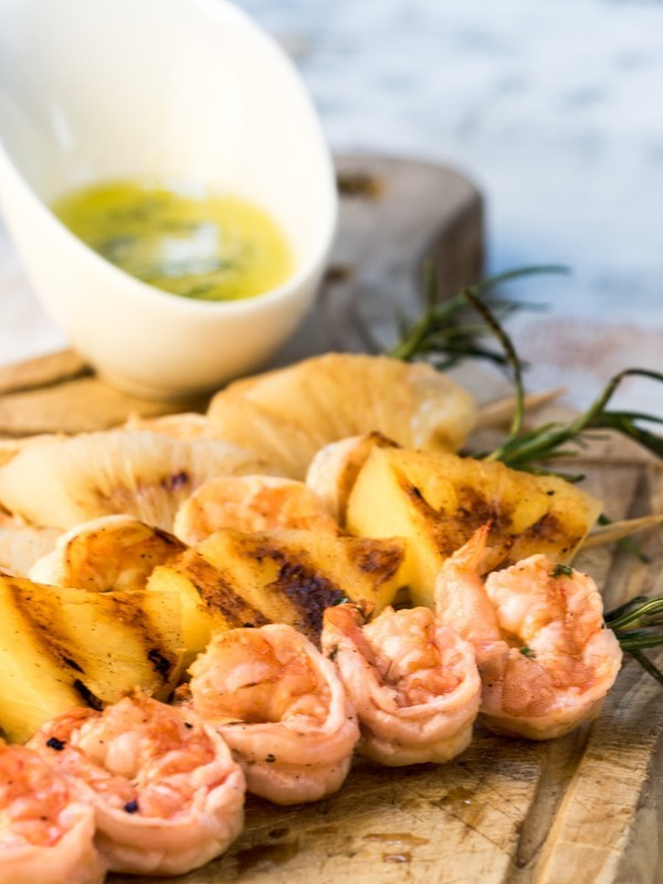 Shrimp On Rosemary Skewers with Rum-Soaked Pineapple 2
