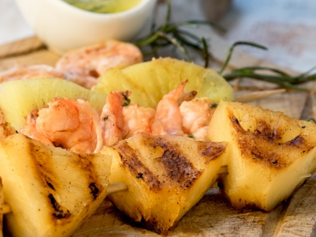 Shrimp On Rosemary Skewers with Rum-Soaked Pineapple 3