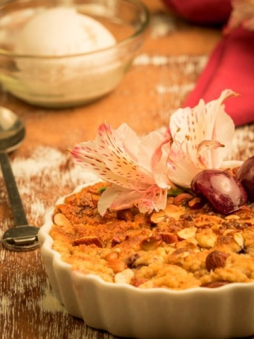 Plum Crumble with Vanilla Ice Cream
