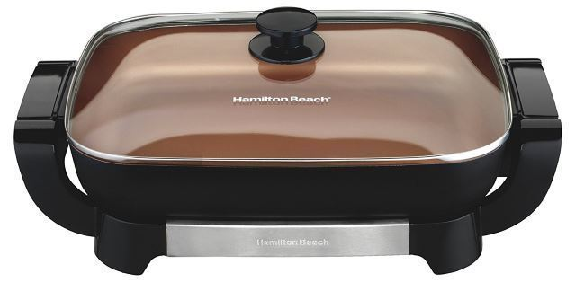 hamilton beach 38529 copper and black deep dish electric skillet