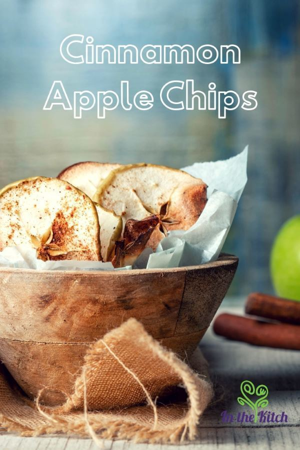 Cinnamon Apple Chips tall image with text. inthekitch.net