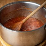 How to Make Ketchup - Step 3 Tomato Paste cooking in a pot - inthekitch.net