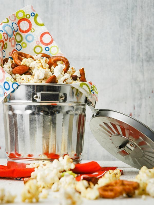 Tri-Flavor Popcorn Snack Mix in an aluminum can.