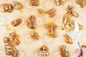 Drying pralines on a silicone mat.