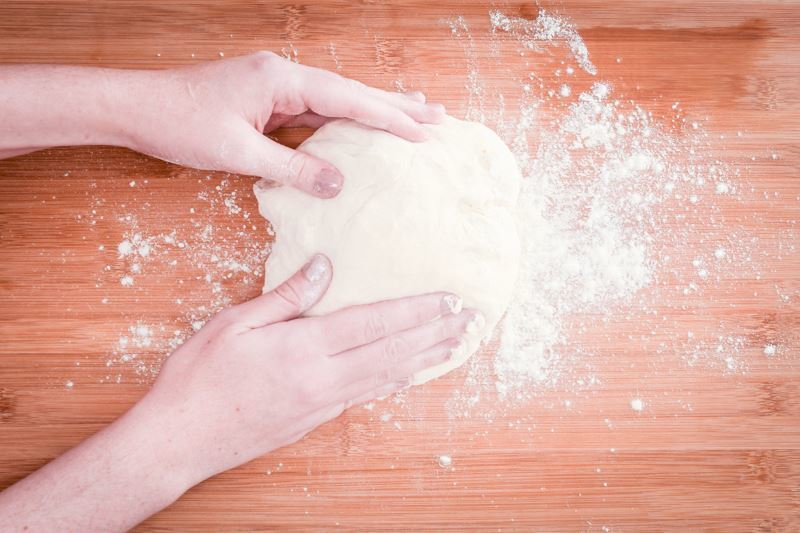 Dough on floured surface.