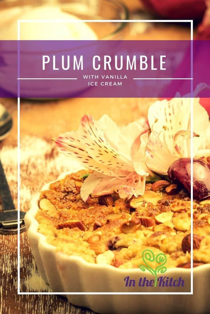 Plum Crumble with Vanilla Ice Cream