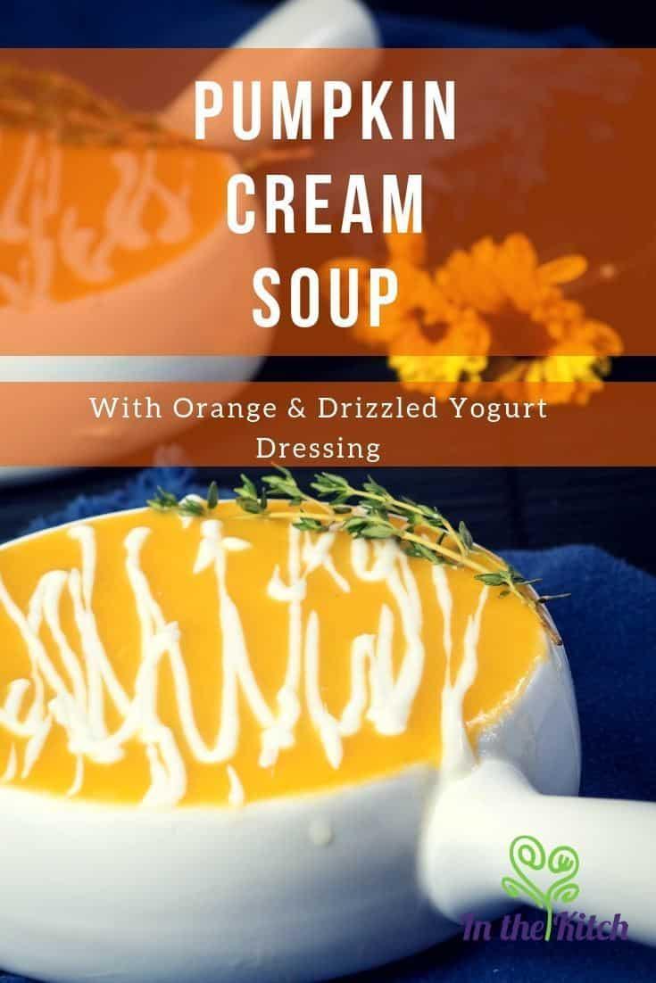Pumpkin Cream Soup with Orange & Drizzled Yogurt Dressing