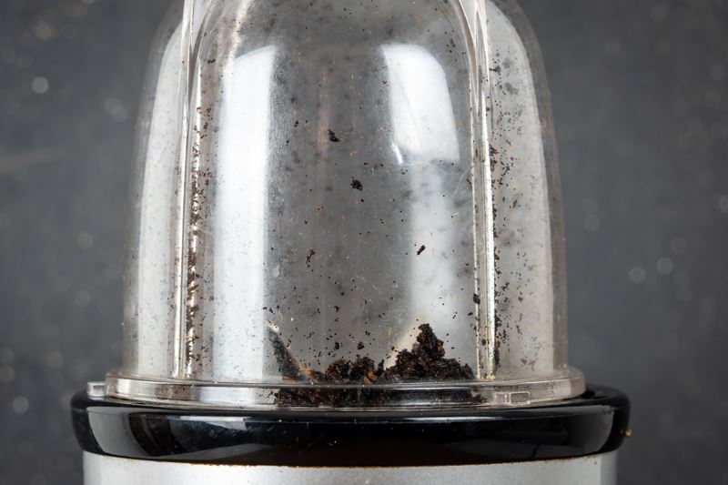 Ground vanilla bean in magic bullet.