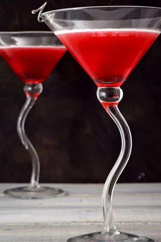 2 martini glasses of Hibiscus Tea Cosmo.