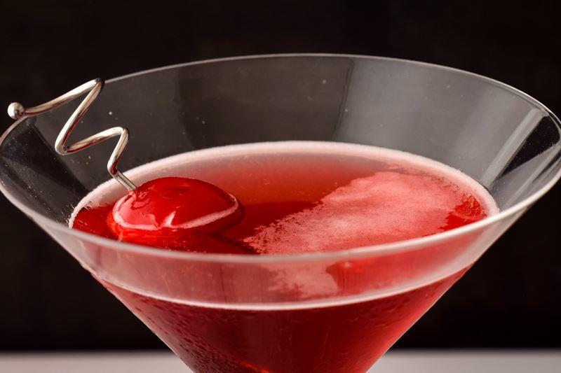 Martini glass of Hibiscus Tea Cosmo.