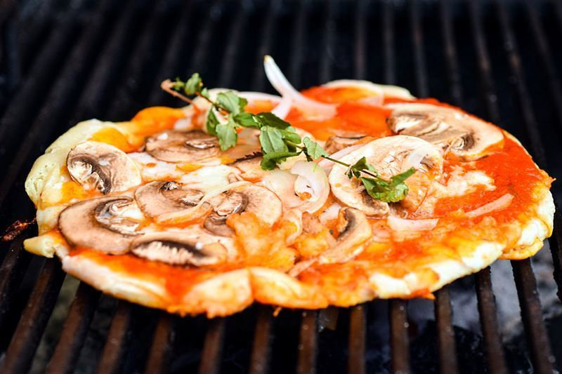 Mushroom pizza on the bbq.
