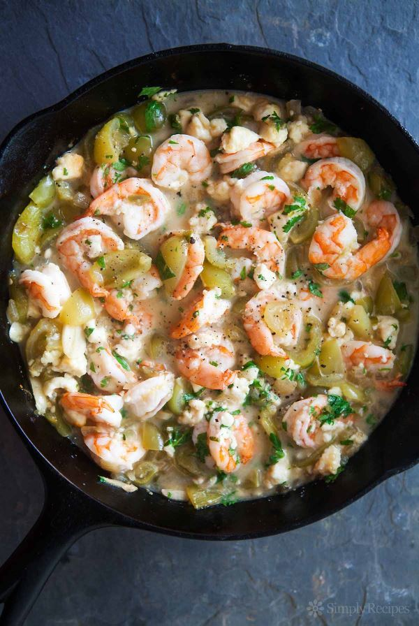 Bake Shrimp and tomatillos in a cast iron pan.