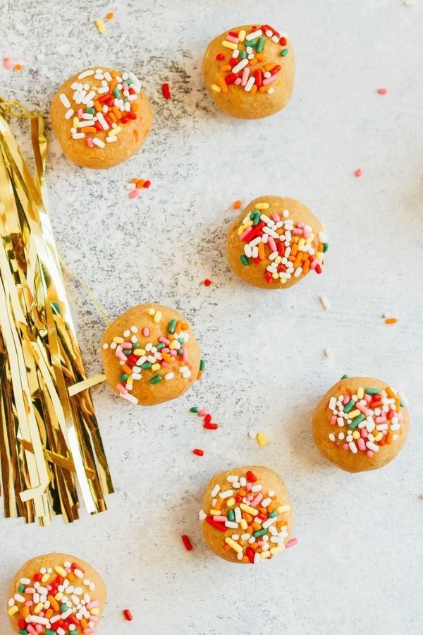 Orange healthy vanilla cake balls.
