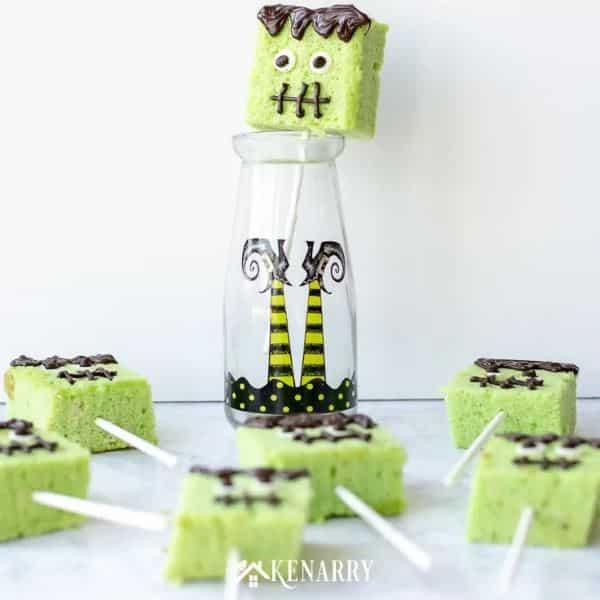 Green Frankenstein cake pops made of rice krispies.