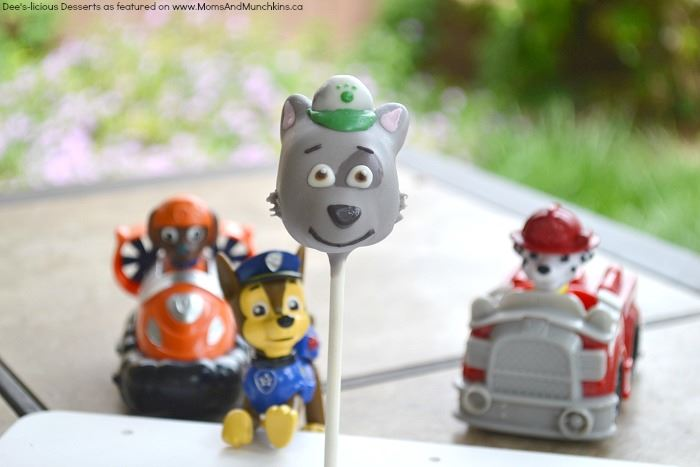 Paw Patrol cake pops.