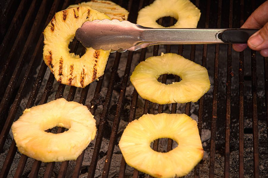 Grilled pineapple on the bbq.