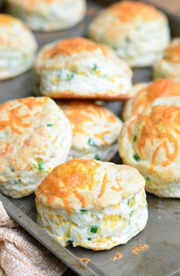 Cheese and jalapeno Buttermilk biscuits on a pan.