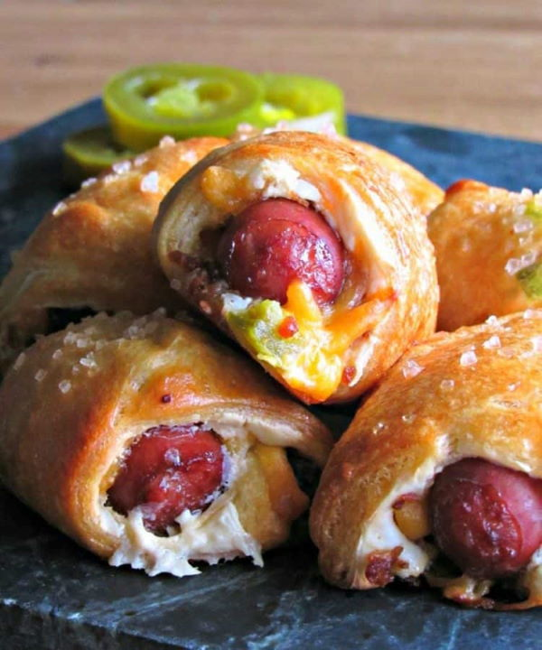 Jalapeno pigs in a blanket piled up.