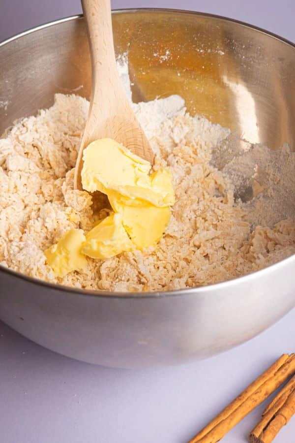 Cinnamon bun dough getting mixed.