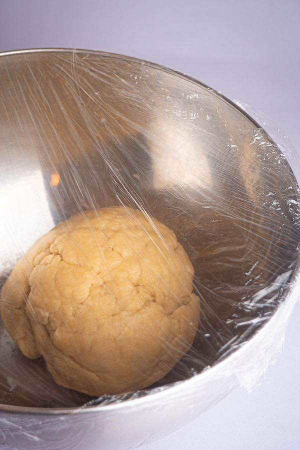 Dough ball in bowl with plastic wrap.