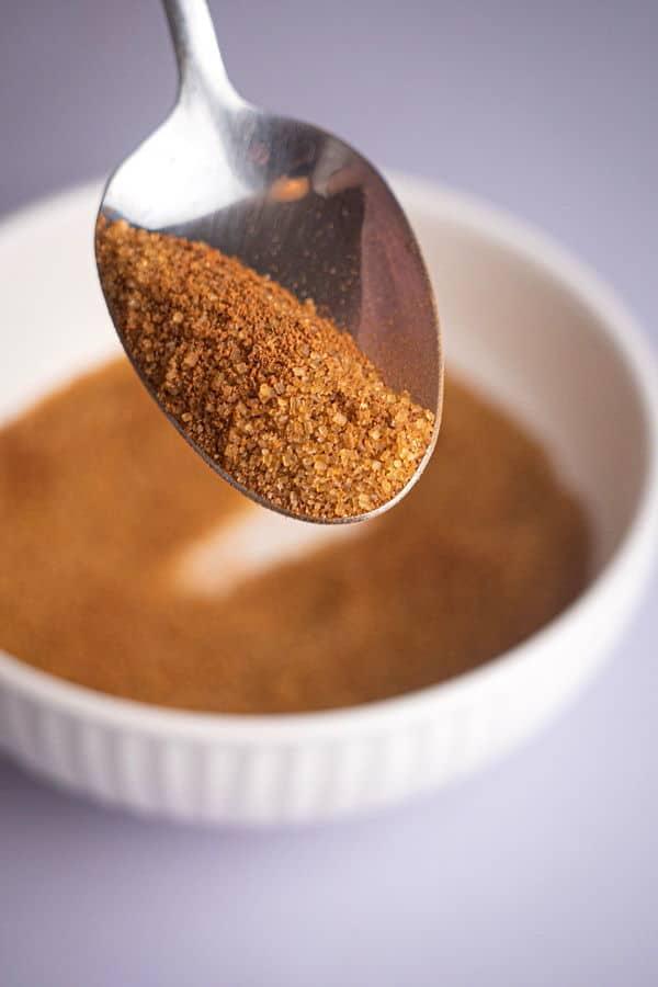 A teaspoon of cinnamon and brown sugar mixture.