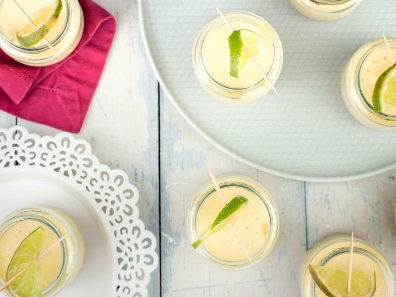 Iced Lemon Mousse in mini jars.