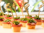 Melong, prosciutto and greens mini skewers.