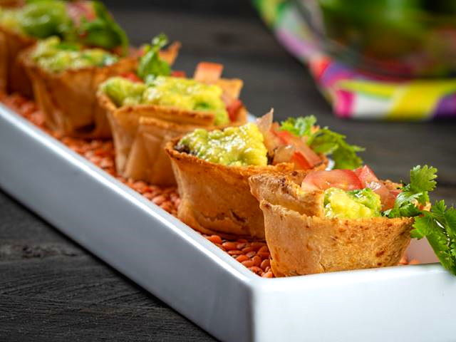 Mexican Tortilla Baskets on a serving tray.