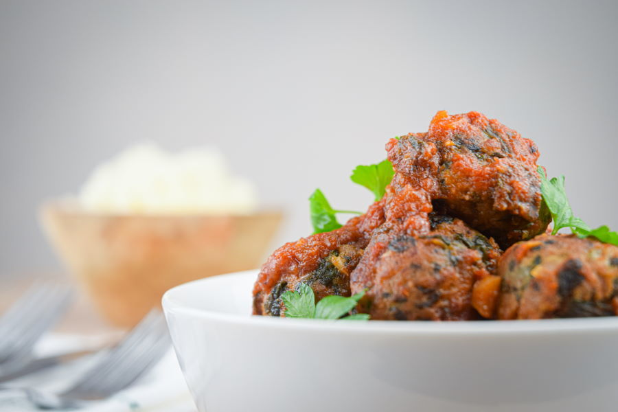 Turkey and Mushroom Meatballs in a white bowl.