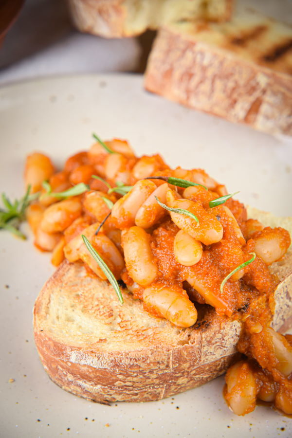 British Baked beans in tomato sauce on toasted bread.