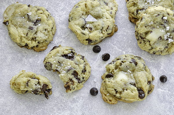 Chocolate chip and marzipan cookies.