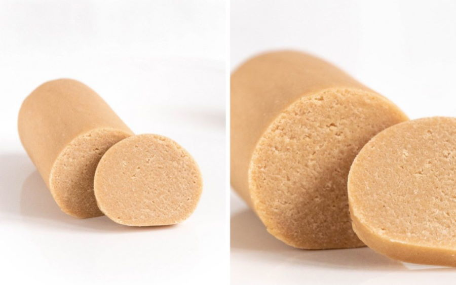 Side by side images of marzipan roll.