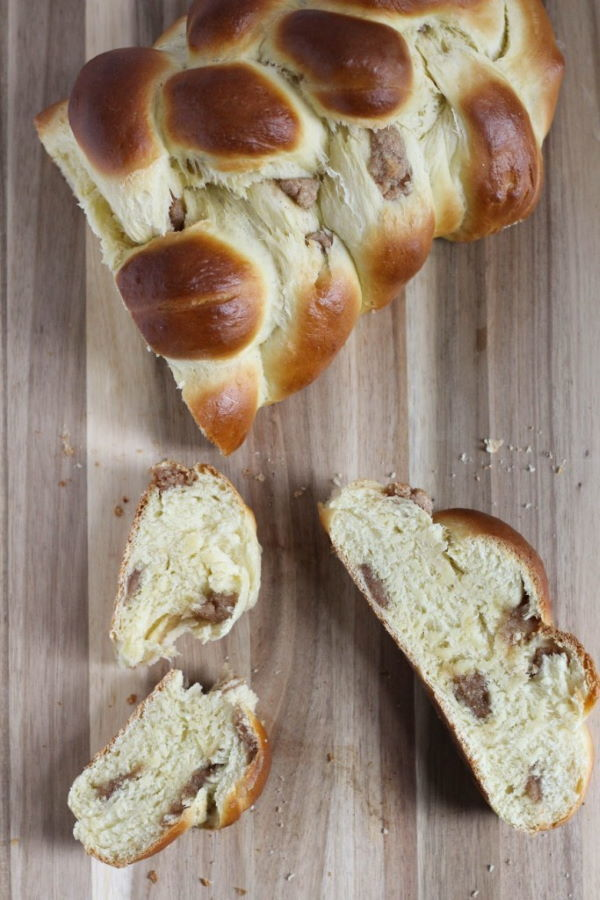 Marzipan challah on wooden background.