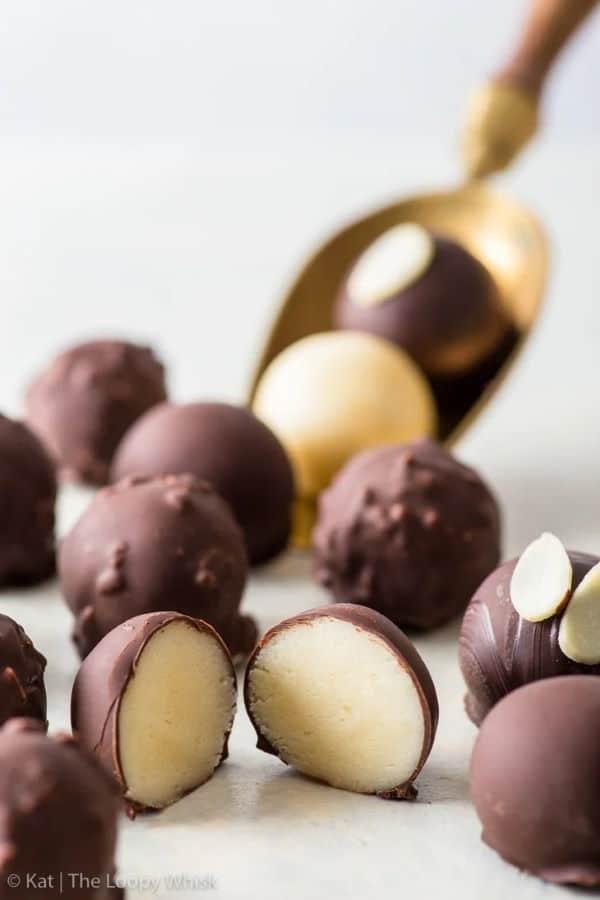 Vegan dark chocolate marzipan truffles.