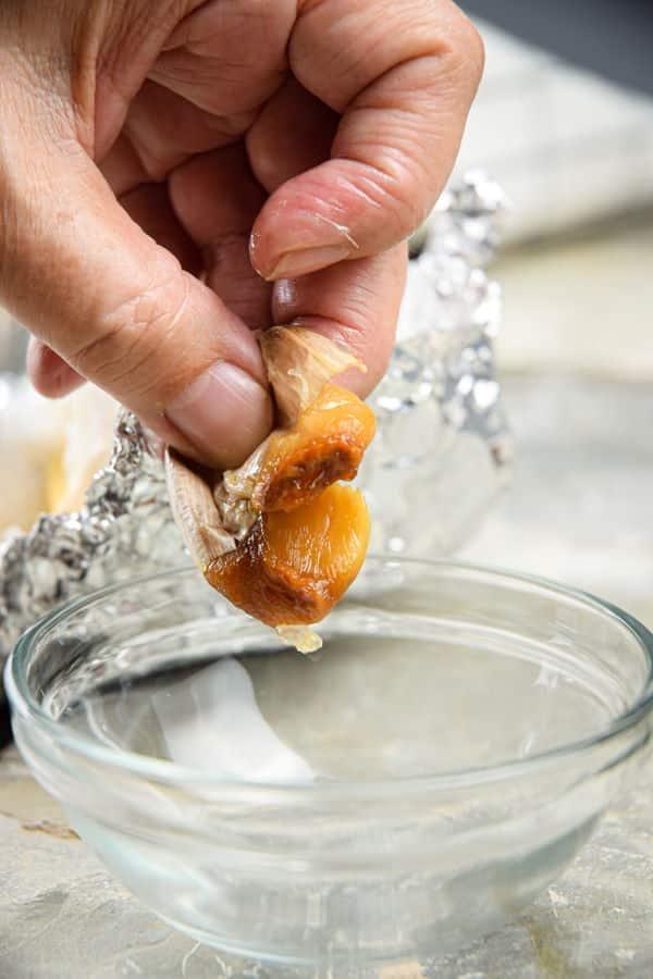 Roasted garlic clove.