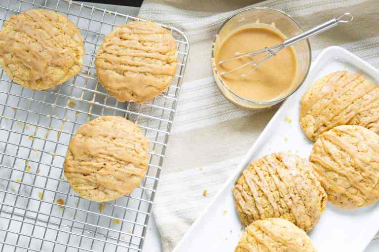 PSL cookies on baking rack and serving dish.