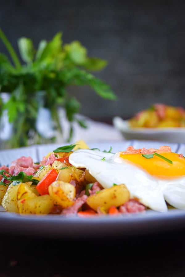 Electric skillet sausage and egg breakfast hash on a plate, dark background with a clear jar filled with herbs in the background.