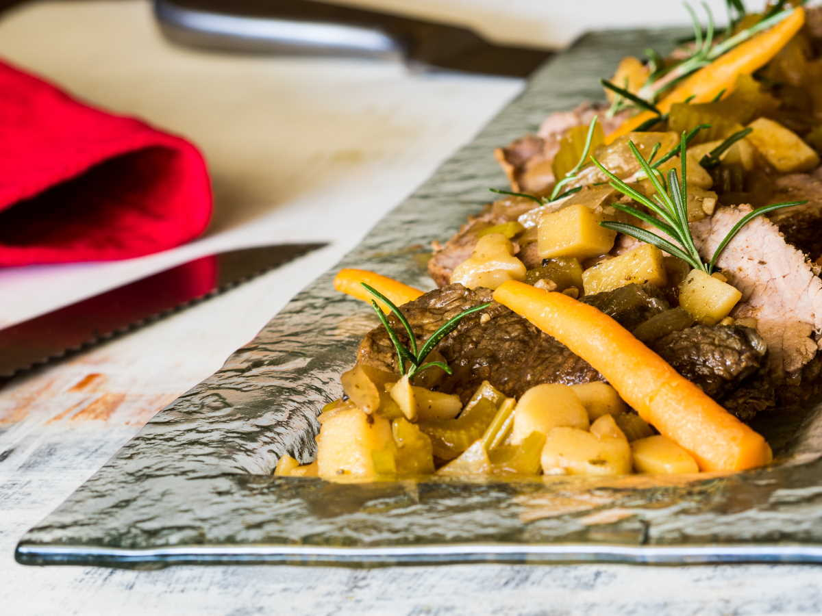 Pot roast with veg on serving platter.