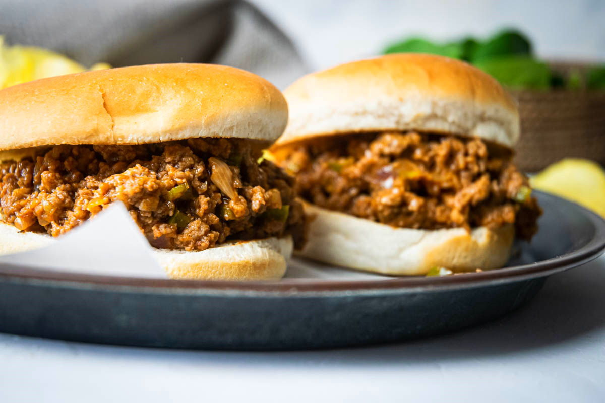 Sloppy Joes on a serving dish.