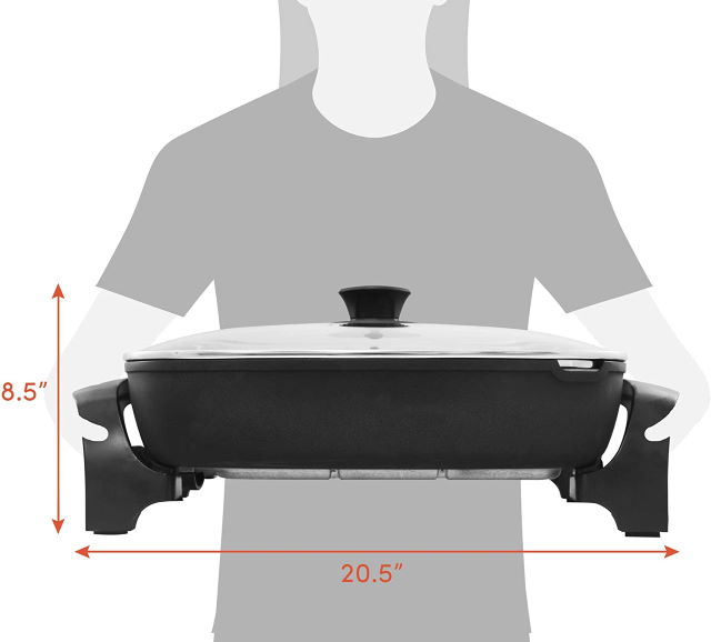 Elite Gourmet Skillet with dimensions shown.
