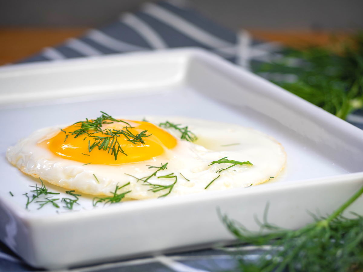 Fried egg on white plate with chopped dill.