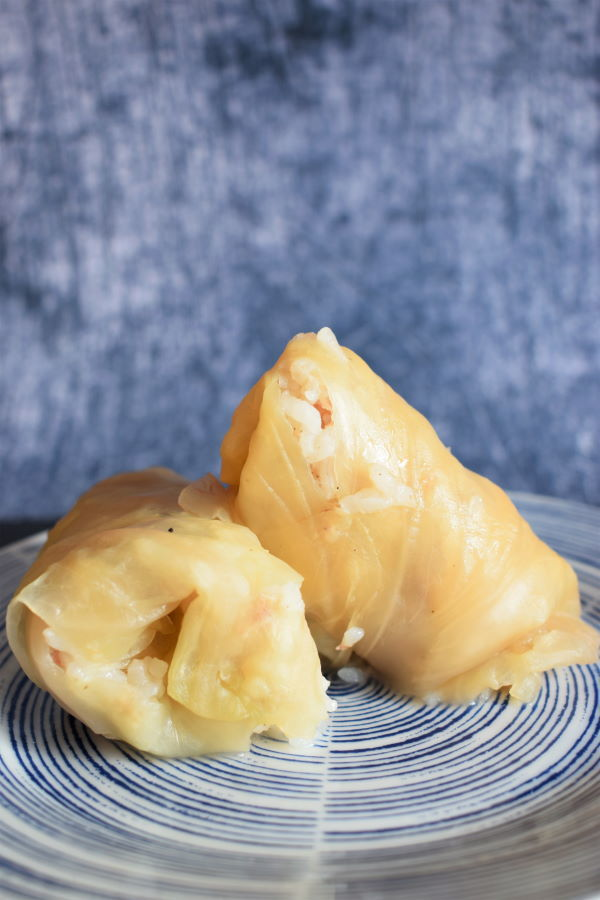 Cabbage rolls on a blue and white plate, blue background.