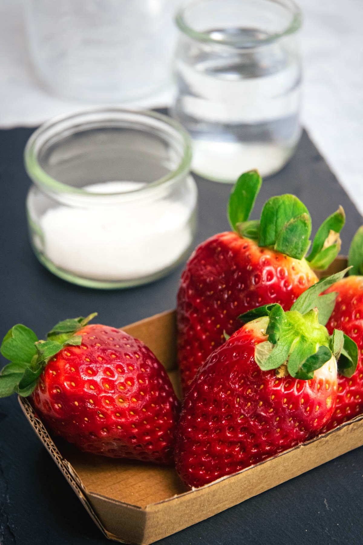 Fresh strawberries, sugar and vodka.