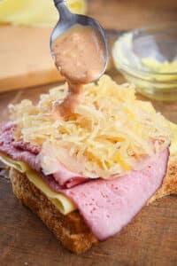 Sauerkraut on sandwich.