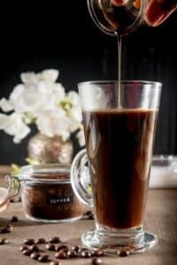 Coffee in a mug with vanilla.